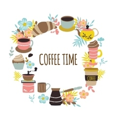 Coffee time round design vector