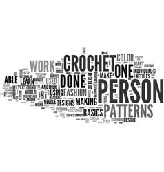 Beginner crochet patterns text word cloud concept vector