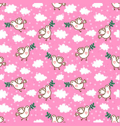 birds with olive branch seamless pattern vector image