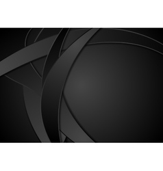 Black corporate abstract wavy background vector image vector image