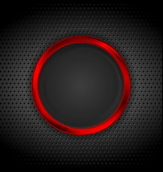 Bright red ring on perforated metallic texture vector