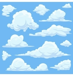 Cartoon clouds in blue sky vector