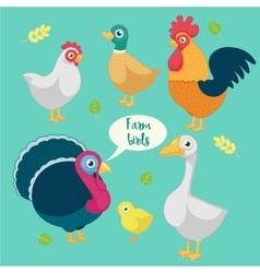 cartoon funny birds farm vector image
