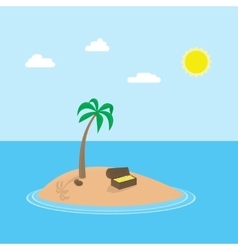 cartoon scene of tropic island with palm vector image vector image