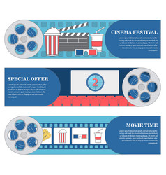 cinema festival horizontal banners set of vector image