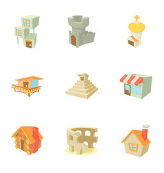 city sight icons set cartoon style vector image vector image