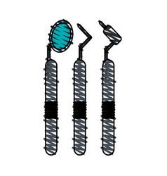 Color crayon stripe cartoon set dental machine vector