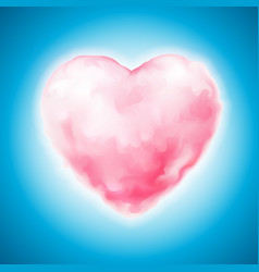 cotton candy heart icon valentine sweet vector image vector image
