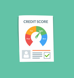 Credit score document concept personal vector