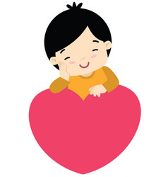 cute little boy leaning on a heart valentines day vector image