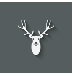 Deer head design element vector