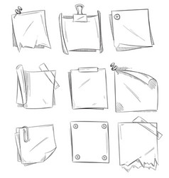 Doodle memo hand drawn notepaper art school vector