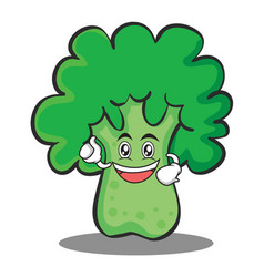 enthusiastic broccoli chracter cartoon style vector image vector image