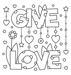 Give love coloring page vector
