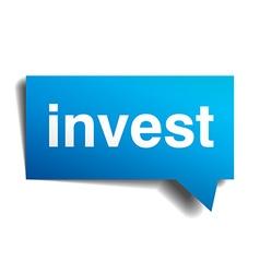 Invest blue 3d realistic paper speech bubble vector image vector image