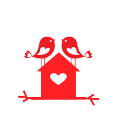 Love cute birds and birdhouse - card for vector
