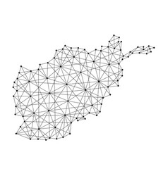 Map of afghanistan from polygonal black lines vector