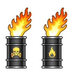 Metal oil barrels in flame with danger signs vector image