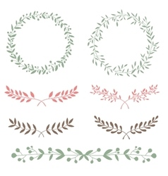 Nature set brunches and wreath hand drawn vector