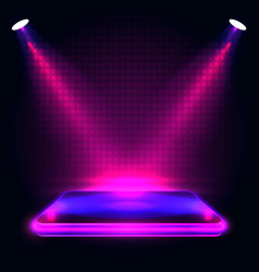 neon podium with lighting stage podium scene vector image
