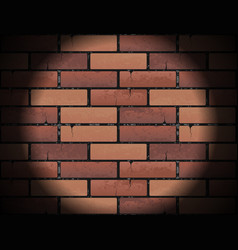 red brick wall texture background with round light vector image