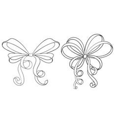 ribbon bows hand drawn sketch vector image