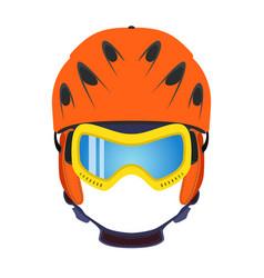 Ski helmet snowboard glasses goggles in flat style vector