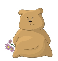 Teddy bear with a holiday flowers vector image vector image
