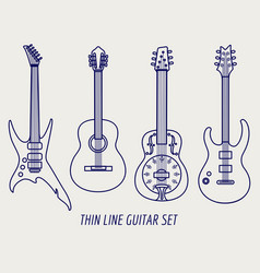 thin line guitars on grey background vector image vector image