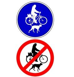 Traffic sign biking with dog vector