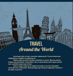 Travel around the world retro poster vector