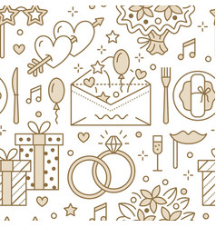 Wedding party seamless pattern flat line vector