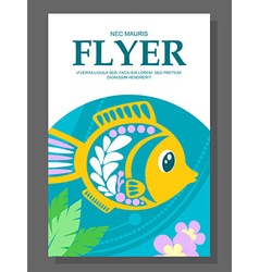 Summer flyer with a decorative fish on the ocean vector
