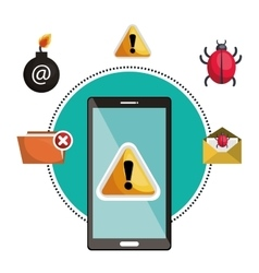 Concept virus smartphone warning design vector
