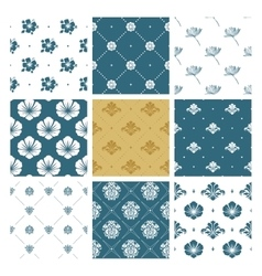 Floral seamless pattern set fashion vector image