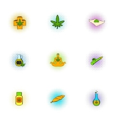 Hemp icons set pop-art style vector