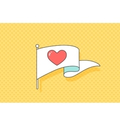 Vintage flag with red heart symbol vector image