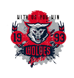 Design for printing on t-shirts aggressive wolf vector
