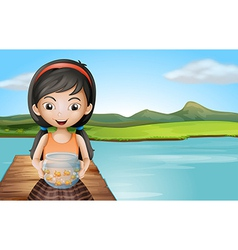 A girl with an aquarium standing at the diving vector image