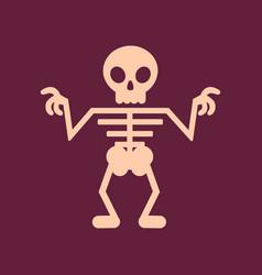 flat icon on background halloween skeleton vector image
