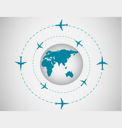 Airplanes and globe vector