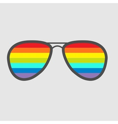 Glasses with rainbow lenses isolated icon vector