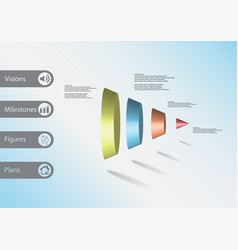 3d infographic template with cone vertically vector