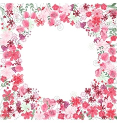 Vintage round frame with contour red flowers vector