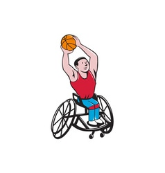 Wheelchair basketball player shooting ball cartoon vector