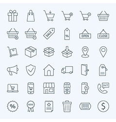 Line shopping and e-commerce icons set vector