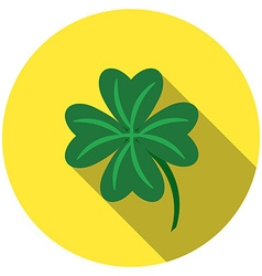 Flat design lucky clover icon with long shadow vector