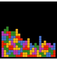 Game brick tetris template on black background vector