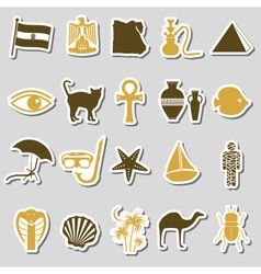 Egypt country theme symbols stickers set eps10 vector
