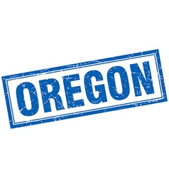 Oregon blue square grunge stamp on white vector